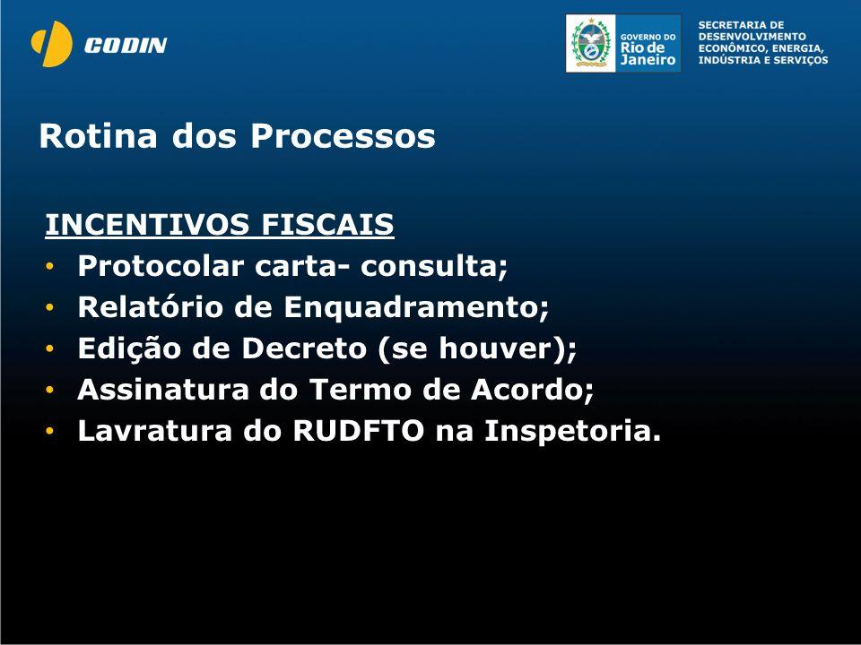 Rotina dos Processos INCENTIVOS FISCAIS Protocolar carta- consulta; Relatório de Enquadramento; Edição de Decreto (se houver); Assinatura do Termo de