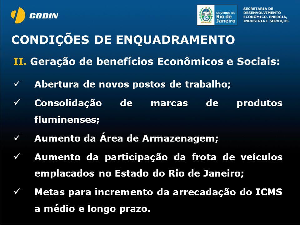 CONDIÇÕES DE ENQUADRAMENTO II. Geração de benefícios Econômicos e Sociais: Abertura de novos postos de trabalho; Consolidação de marcas de produtos fl