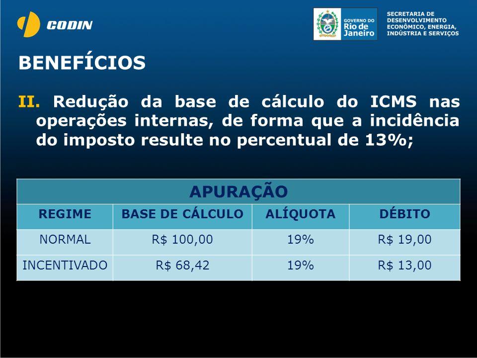 II. Redução da base de cálculo do ICMS nas operações internas, de forma que a incidência do imposto resulte no percentual de 13%; APURAÇÃO REGIMEBASE