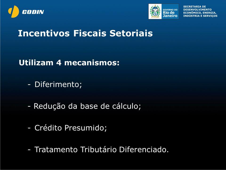 Utilizam 4 mecanismos: -Diferimento; - Redução da base de cálculo; -Crédito Presumido; -Tratamento Tributário Diferenciado. Incentivos Fiscais Setoria