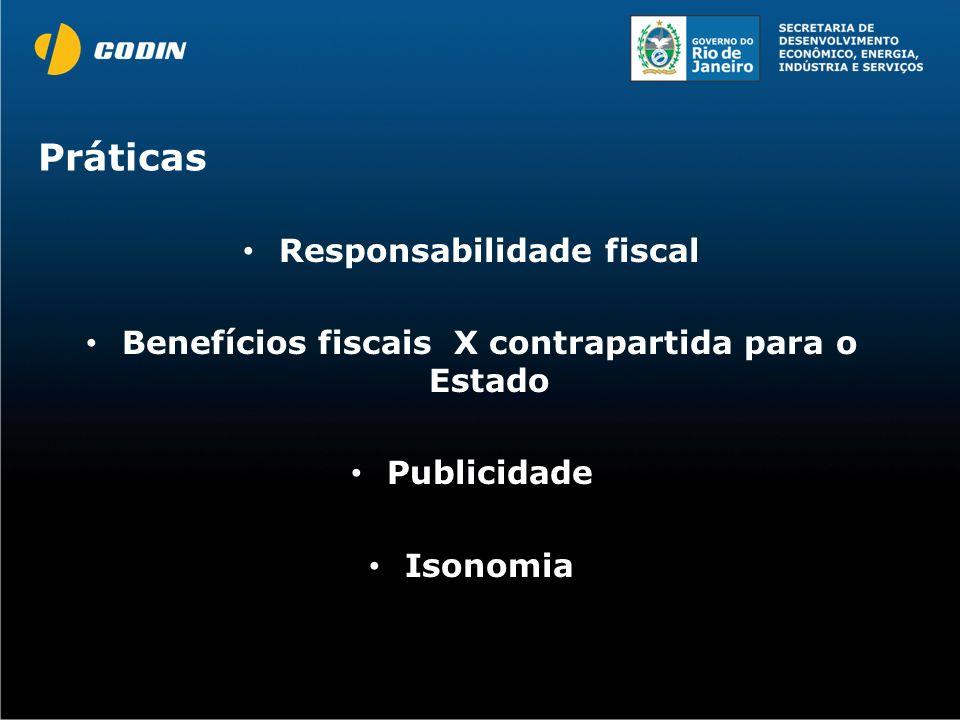 Práticas Responsabilidade fiscal Benefícios fiscais X contrapartida para o Estado Publicidade Isonomia