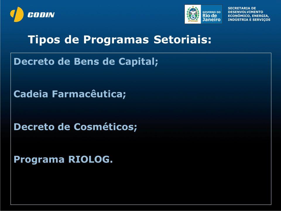 Decreto de Bens de Capital; Cadeia Farmacêutica; Decreto de Cosméticos; Programa RIOLOG. Tipos de Programas Setoriais:
