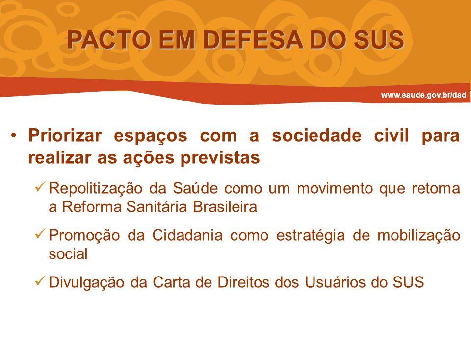 PACTO EM DEFESA DO SUS Priorizar espaços com a sociedade civil para realizar as ações previstas Repolitização da Saúde como um movimento que retoma a