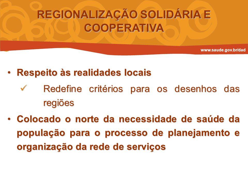 Respeito às realidades locaisRespeito às realidades locais Redefine critérios para os desenhos das regiões Redefine critérios para os desenhos das reg