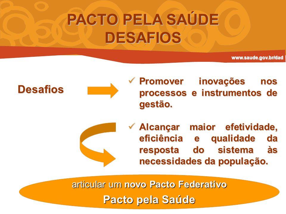 PACTO PELA SAÚDE DESAFIOS Desafios Promover inovações nos processos e instrumentos de gestão. Promover inovações nos processos e instrumentos de gestã