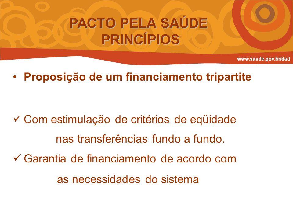 Proposição de um financiamento tripartite Com estimulação de critérios de eqüidade nas transferências fundo a fundo. Garantia de financiamento de acor
