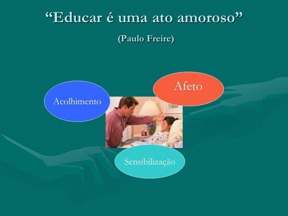Educar é uma ato amoroso (Paulo Freire) Sensibilização Acolhimento Afeto
