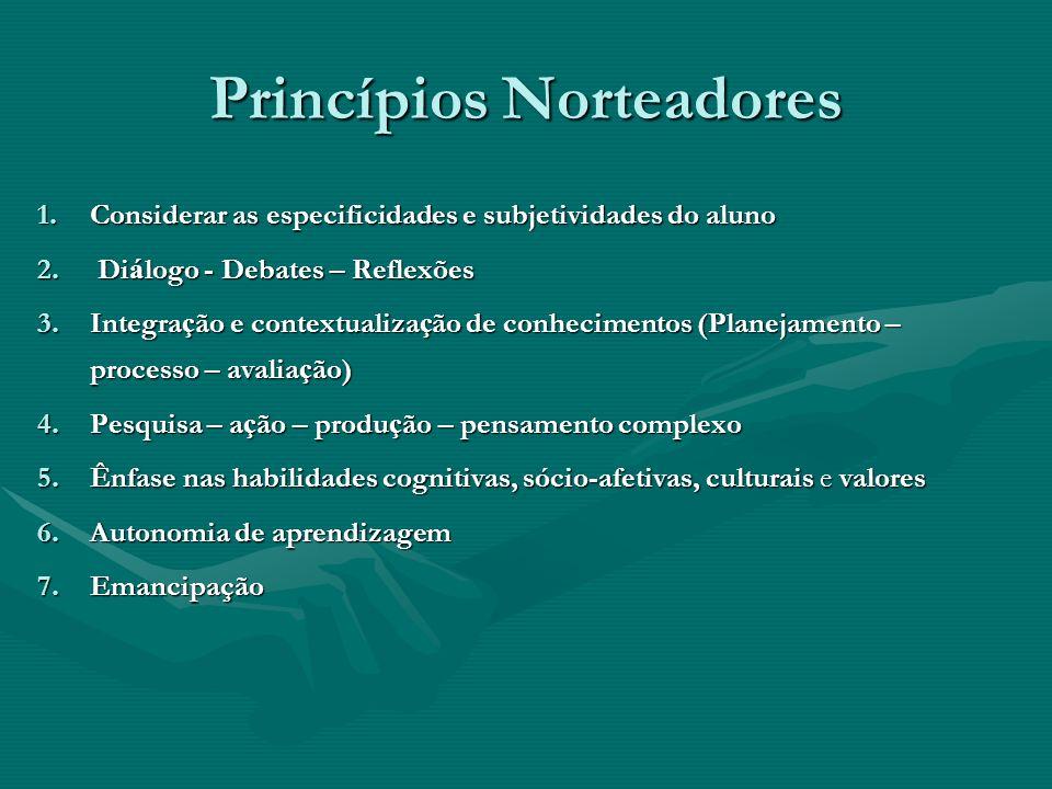Princípios Norteadores 1.Considerar as especificidades e subjetividades do aluno 2. Di á logo - Debates – Reflexões 3.Integra ç ão e contextualiza ç ã