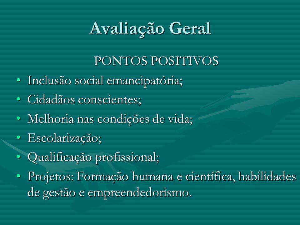 Avaliação Geral PONTOS POSITIVOS Inclusão social emancipatória;Inclusão social emancipatória; Cidadãos conscientes;Cidadãos conscientes; Melhoria nas