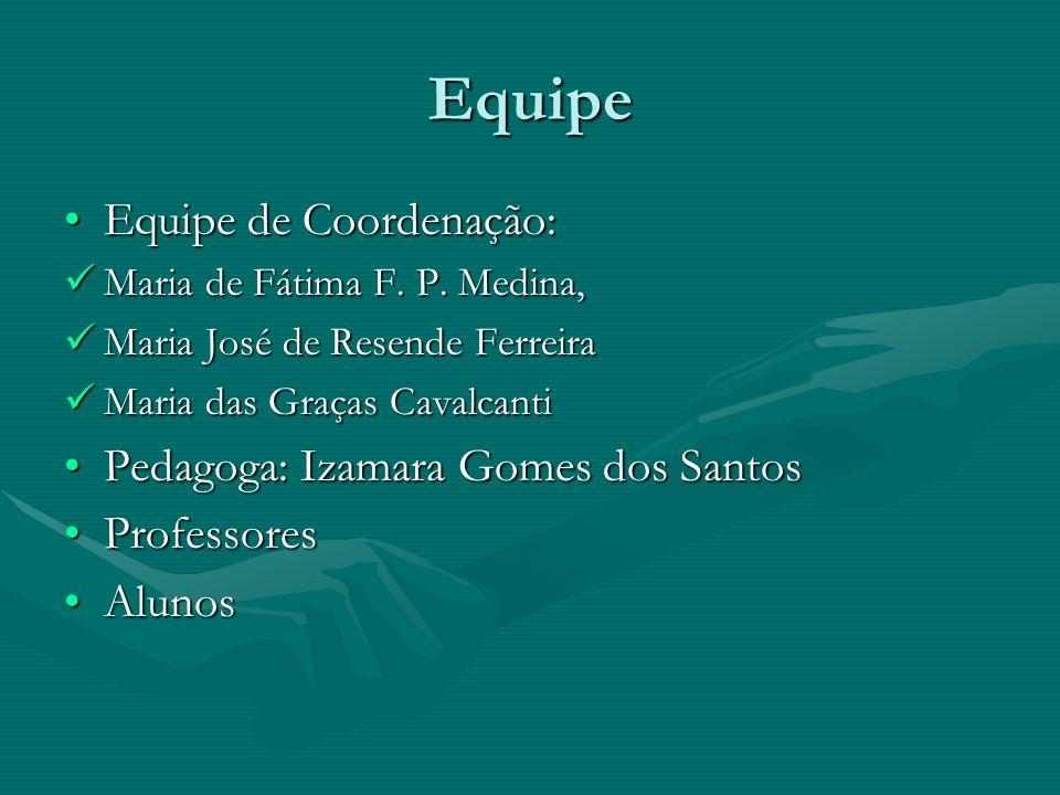 Equipe Equipe de Coordenação:Equipe de Coordenação: Maria de Fátima F. P. Medina, Maria de Fátima F. P. Medina, Maria José de Resende Ferreira Maria J