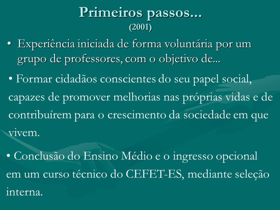 Primeiros passos... (2001) Experiência iniciada de forma voluntária por um grupo de professores, com o objetivo de...Experiência iniciada de forma vol