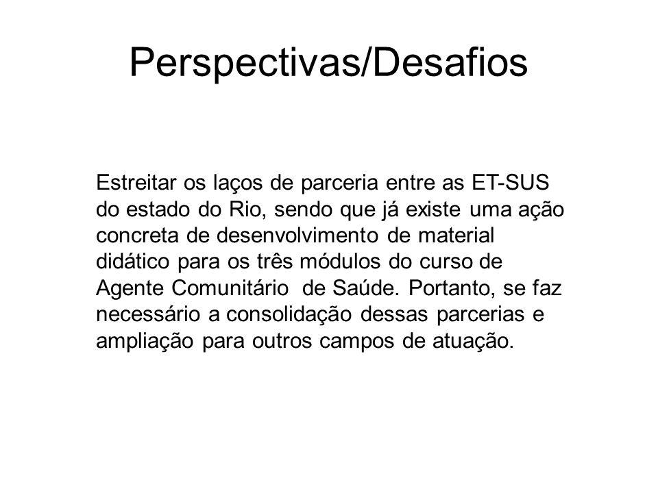 Perspectivas/Desafios Estreitar os laços de parceria entre as ET-SUS do estado do Rio, sendo que já existe uma ação concreta de desenvolvimento de mat