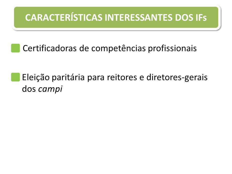 Certificadoras de competências profissionais CARACTERÍSTICAS INTERESSANTES DOS IFs Eleição paritária para reitores e diretores-gerais dos campi