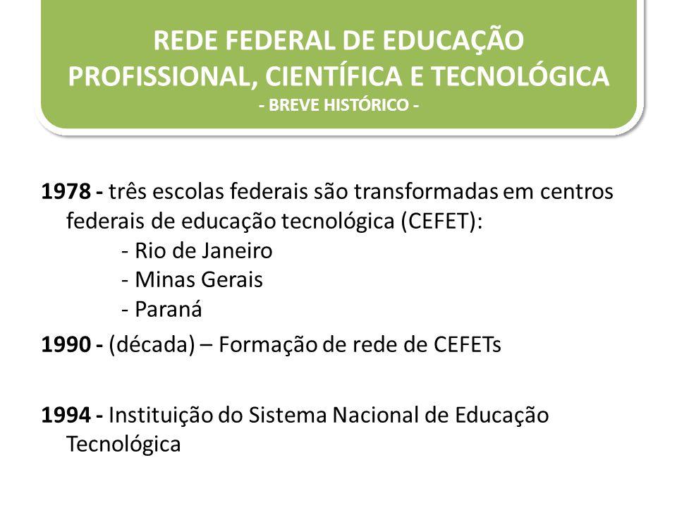 1978 - três escolas federais são transformadas em centros federais de educação tecnológica (CEFET): - Rio de Janeiro - Minas Gerais - Paraná 1990 - (d