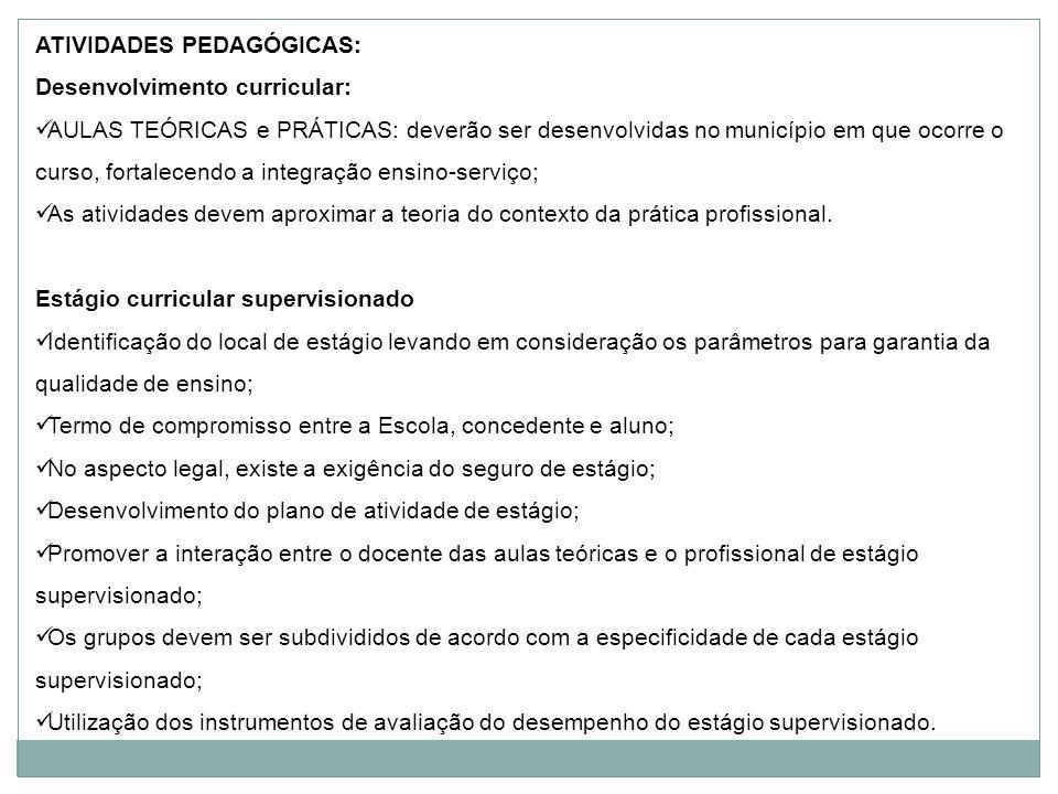 ATIVIDADES PEDAGÓGICAS: Desenvolvimento curricular: AULAS TEÓRICAS e PRÁTICAS: deverão ser desenvolvidas no município em que ocorre o curso, fortalece