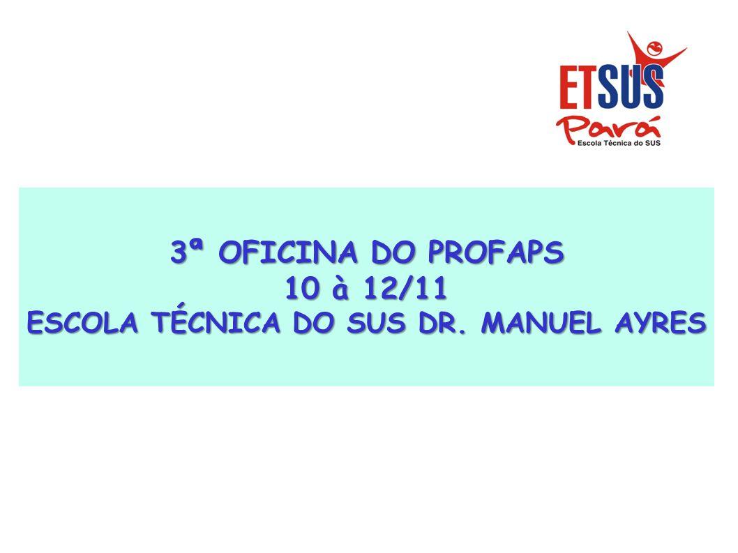 3ª OFICINA DO PROFAPS 10 à 12/11 ESCOLA TÉCNICA DO SUS DR. MANUEL AYRES