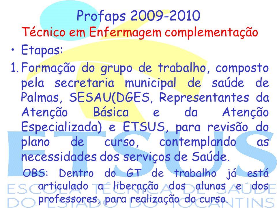Profaps 2009-2010 Técnico em Enfermagem complementação Etapas: 1.Formação do grupo de trabalho, composto pela secretaria municipal de saúde de Palmas,