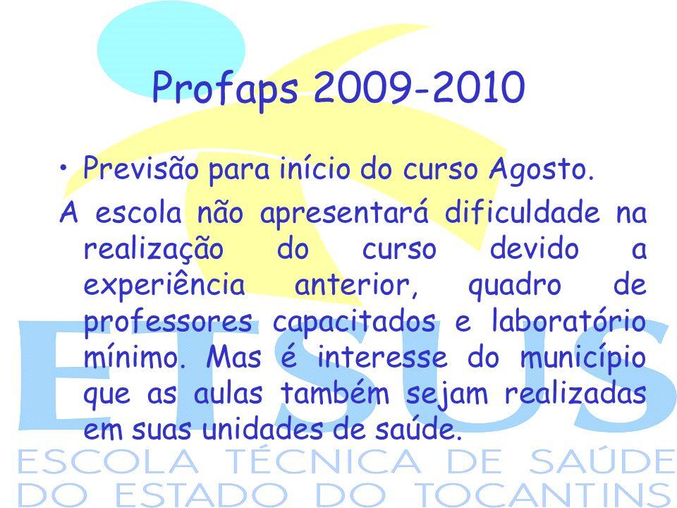 Profaps 2009-2010 Previsão para início do curso Agosto. A escola não apresentará dificuldade na realização do curso devido a experiência anterior, qua