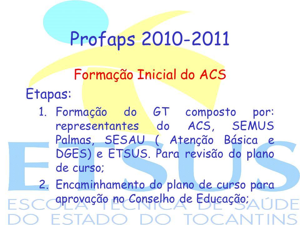 Profaps 2010-2011 Formação Inicial do ACS Etapas: 1.Formação do GT composto por: representantes do ACS, SEMUS Palmas, SESAU ( Atenção Básica e DGES) e ETSUS.