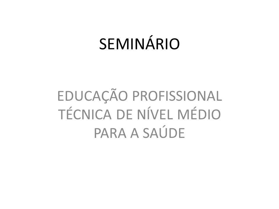 SEMINÁRIO EDUCAÇÃO PROFISSIONAL TÉCNICA DE NÍVEL MÉDIO PARA A SAÚDE