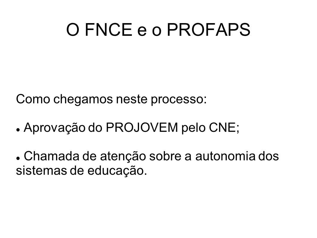 O FNCE e o PROFAPS Como chegamos neste processo: Aprovação do PROJOVEM pelo CNE; Chamada de atenção sobre a autonomia dos sistemas de educação.