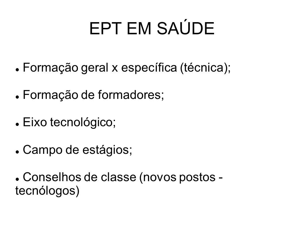EPT EM SAÚDE Formação geral x específica (técnica); Formação de formadores; Eixo tecnológico; Campo de estágios; Conselhos de classe (novos postos - tecnólogos)