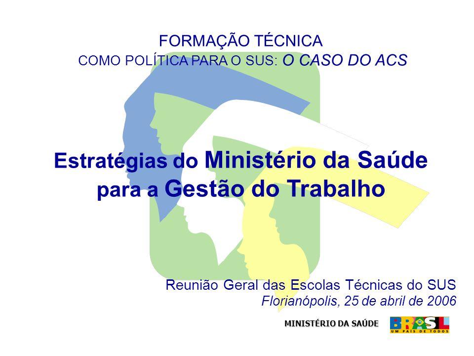 MINISTÉRIO DA SAÚDE Reunião Geral das Escolas Técnicas do SUS Florianópolis, 25 de abril de 2006 FORMAÇÃO TÉCNICA COMO POLÍTICA PARA O SUS: O CASO DO