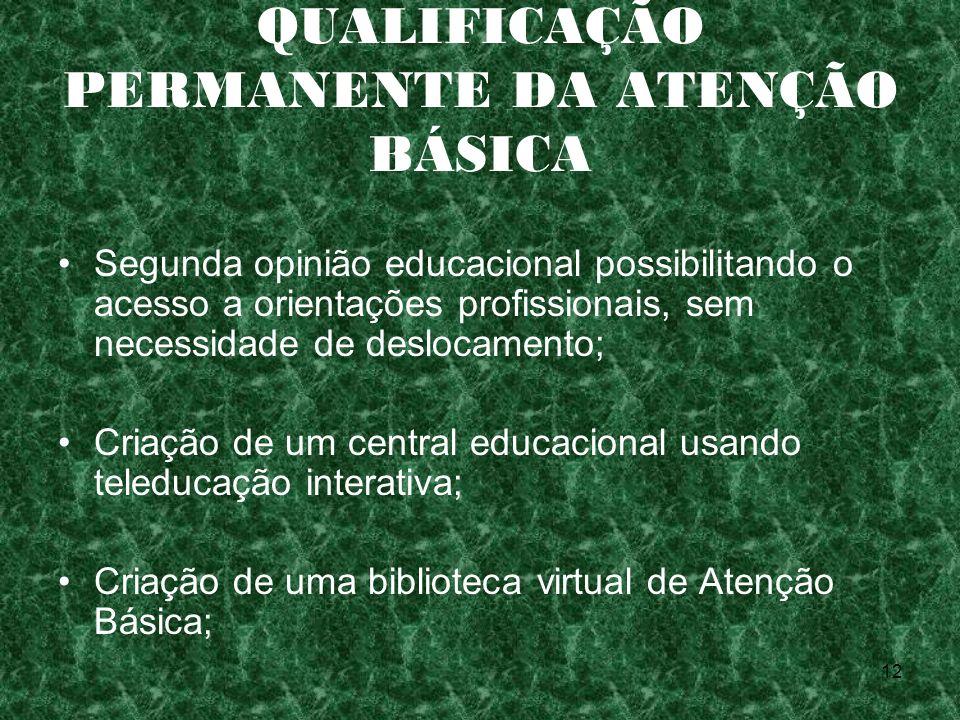 12 QUALIFICAÇÃO PERMANENTE DA ATENÇÃO BÁSICA Segunda opinião educacional possibilitando o acesso a orientações profissionais, sem necessidade de deslo