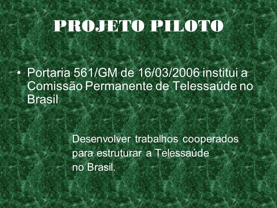 3 PROJETO PILOTO Portaria 561/GM de 16/03/2006 institui a Comissão Permanente de Telessaúde no Brasil Desenvolver trabalhos cooperados para estruturar