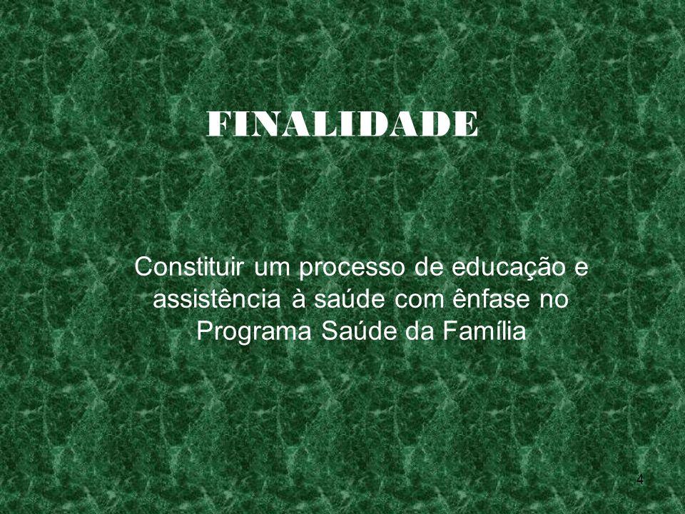 4 FINALIDADE Constituir um processo de educação e assistência à saúde com ênfase no Programa Saúde da Família