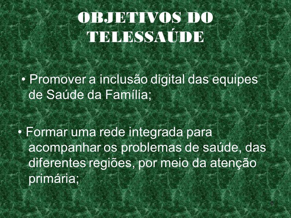 6 OBJETIVOS DO TELESSAÚDE Promover a inclusão digital das equipes de Saúde da Família; Formar uma rede integrada para acompanhar os problemas de saúde