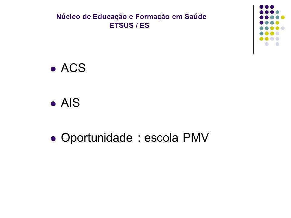 Núcleo de Educação e Formação em Saúde ETSUS / ES ACS AIS Oportunidade : escola PMV