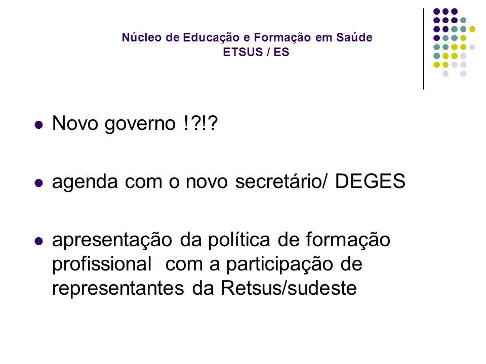 Núcleo de Educação e Formação em Saúde ETSUS / ES Novo governo ! !.
