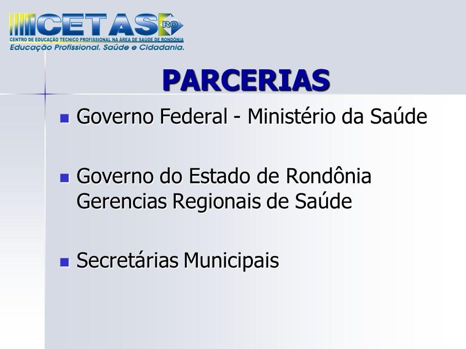PARCERIAS Governo Federal - Ministério da Saúde Governo Federal - Ministério da Saúde Governo do Estado de Rondônia Gerencias Regionais de Saúde Gover