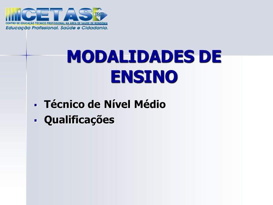 MODALIDADES DE ENSINO Técnico de Nível Médio Técnico de Nível Médio Qualificações Qualificações