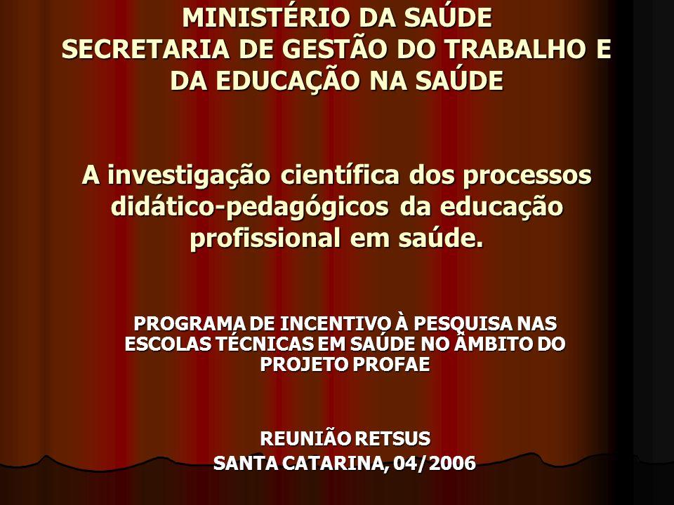 MINISTÉRIO DA SAÚDE SECRETARIA DE GESTÃO DO TRABALHO E DA EDUCAÇÃO NA SAÚDE A investigação científica dos processos didático-pedagógicos da educação p