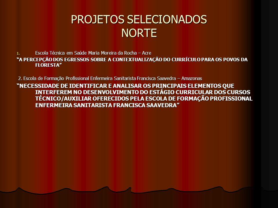 PROJETOS SELECIONADOS NORTE 1. Escola Técnica em Saúde Maria Moreira da Rocha – Acre A PERCEPÇÃO DOS EGRESSOS SOBRE A CONTEXTUALIZAÇÃO DO CURRÍCULO PA