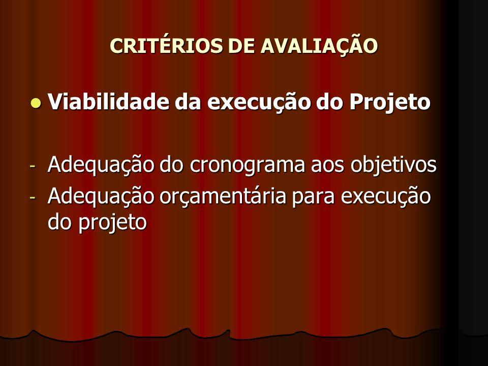 CRITÉRIOS DE AVALIAÇÃO Viabilidade da execução do Projeto Viabilidade da execução do Projeto - Adequação do cronograma aos objetivos - Adequação orçam