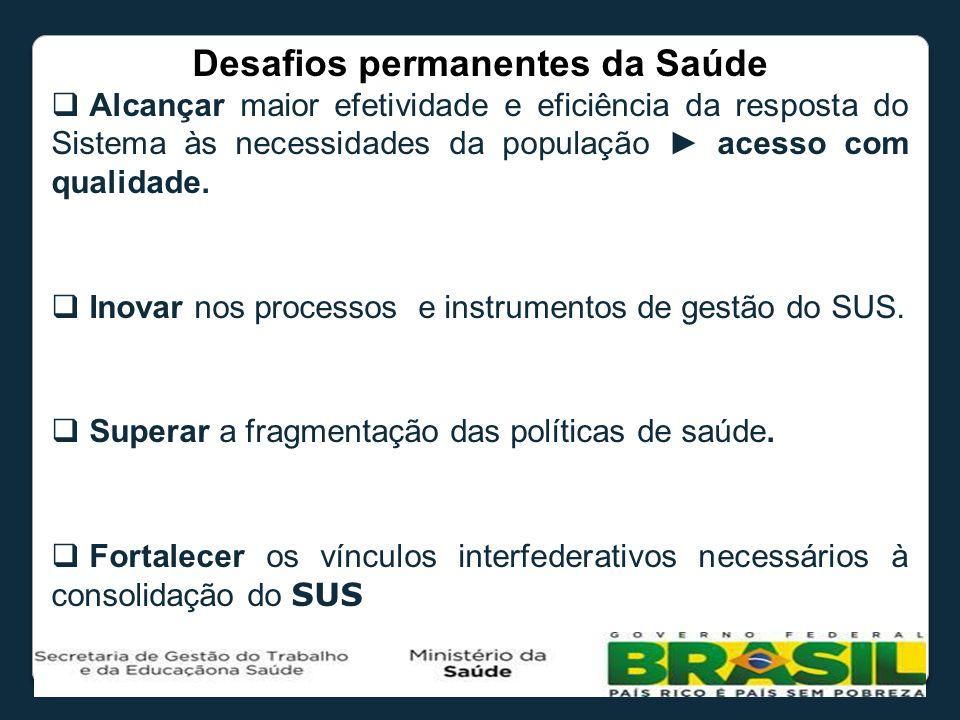 Desafios permanentes da Saúde Alcançar maior efetividade e eficiência da resposta do Sistema às necessidades da população acesso com qualidade. Inovar
