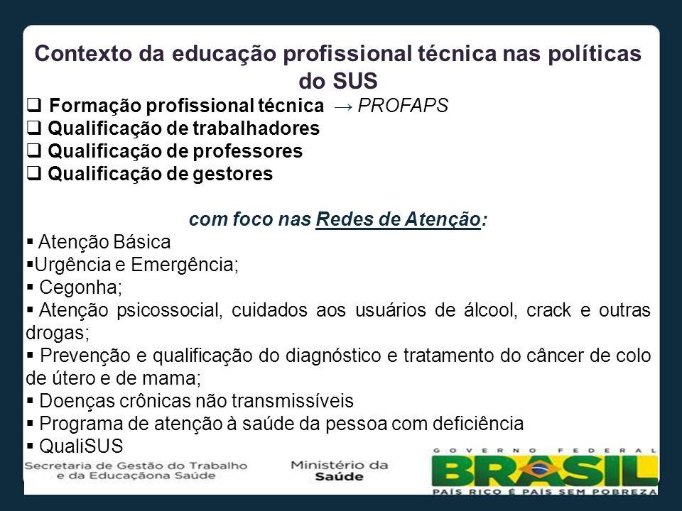 Contexto da educação profissional técnica nas políticas do SUS Formação profissional técnica PROFAPS Qualificação de trabalhadores Qualificação de pro