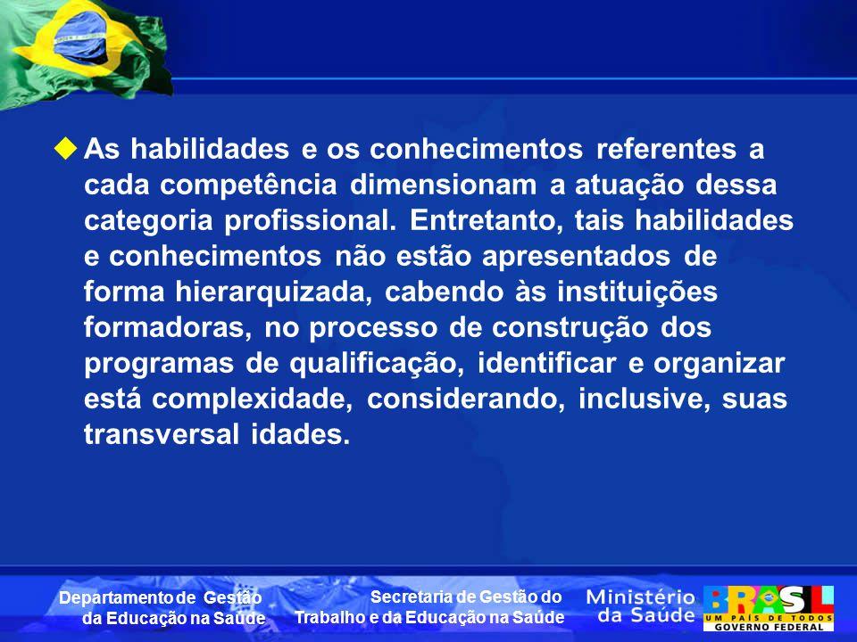 Secretaria de Gestão do Trabalho e da Educação na Saúde Departamento de Gestão da Educação na Saúde As habilidades e os conhecimentos referentes a cada competência dimensionam a atuação dessa categoria profissional.
