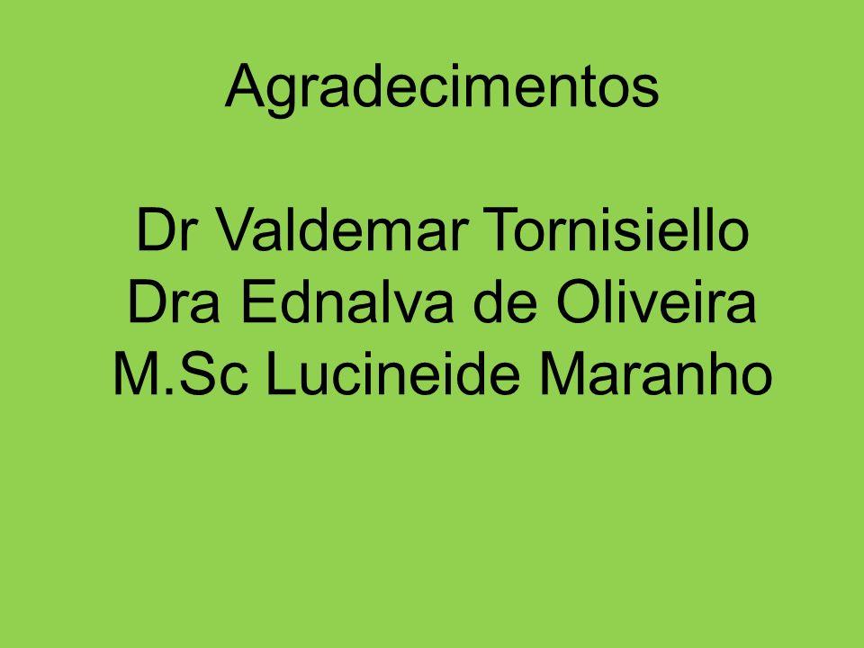 Agradecimentos Dr Valdemar Tornisiello Dra Ednalva de Oliveira M.Sc Lucineide Maranho