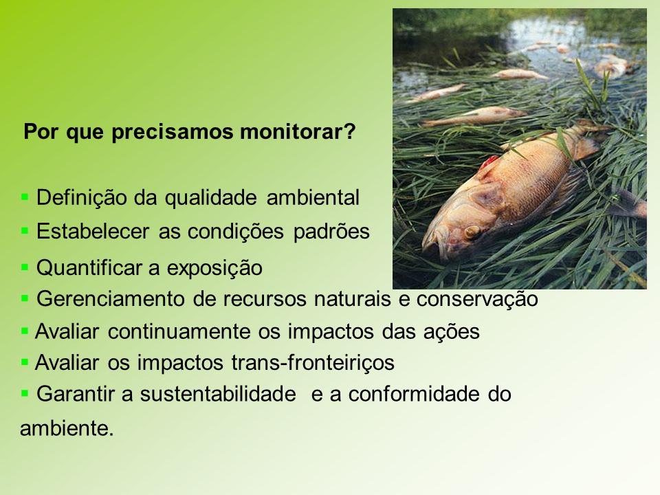 Por que precisamos monitorar? Definição da qualidade ambiental Estabelecer as condições padrões Quantificar a exposição Gerenciamento de recursos natu