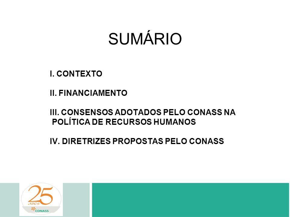 SUMÁRIO I. CONTEXTO II. FINANCIAMENTO III. CONSENSOS ADOTADOS PELO CONASS NA POLÍTICA DE RECURSOS HUMANOS IV. DIRETRIZES PROPOSTAS PELO CONASS
