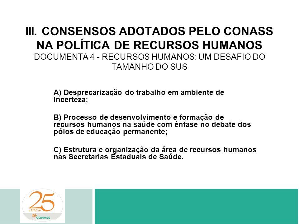 III. CONSENSOS ADOTADOS PELO CONASS NA POLÍTICA DE RECURSOS HUMANOS DOCUMENTA 4 - RECURSOS HUMANOS: UM DESAFIO DO TAMANHO DO SUS A) Desprecarização do