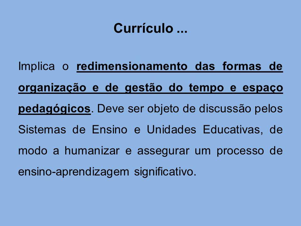 Currículo... Implica o redimensionamento das formas de organização e de gestão do tempo e espaço pedagógicos. Deve ser objeto de discussão pelos Siste