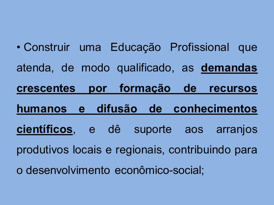 Construir uma Educação Profissional que atenda, de modo qualificado, as demandas crescentes por formação de recursos humanos e difusão de conhecimento