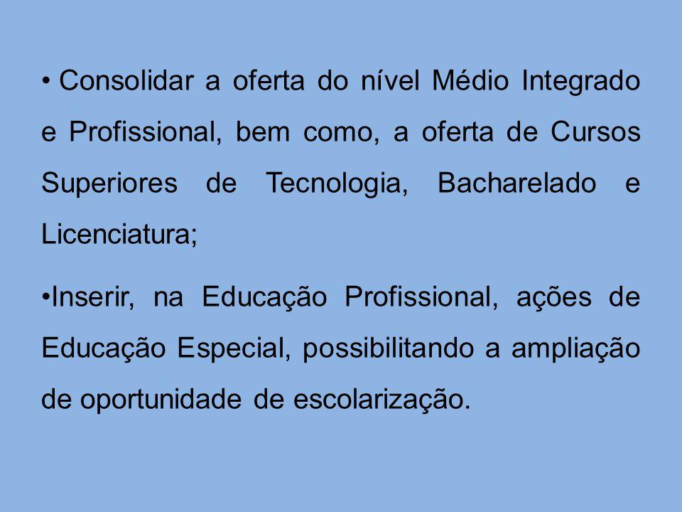 Consolidar a oferta do nível Médio Integrado e Profissional, bem como, a oferta de Cursos Superiores de Tecnologia, Bacharelado e Licenciatura; Inseri