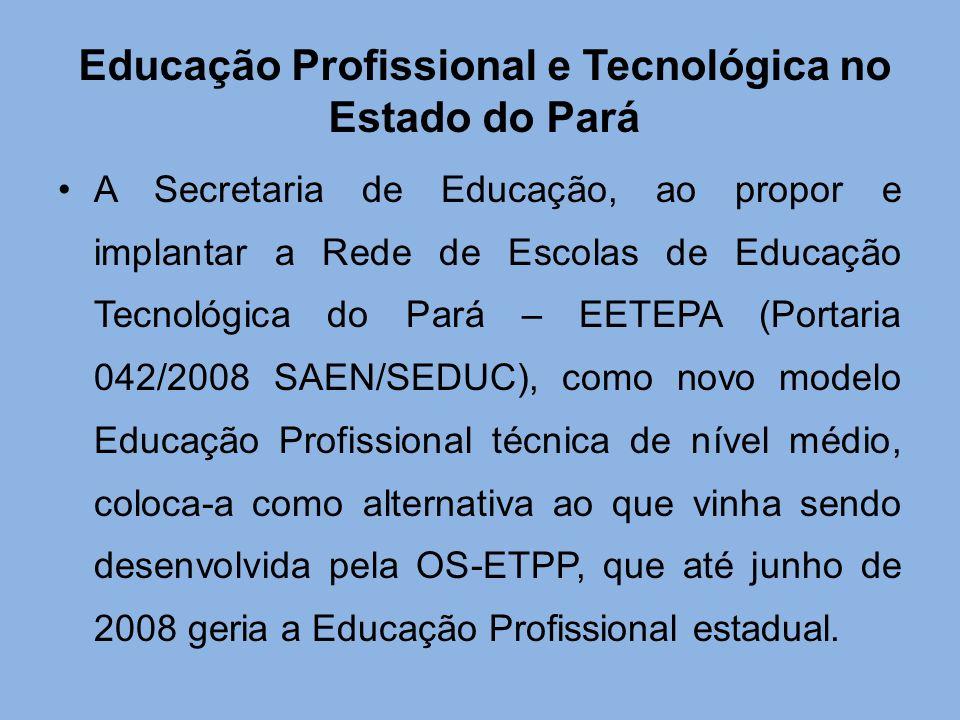 Educação Profissional e Tecnológica no Estado do Pará A Secretaria de Educação, ao propor e implantar a Rede de Escolas de Educação Tecnológica do Par