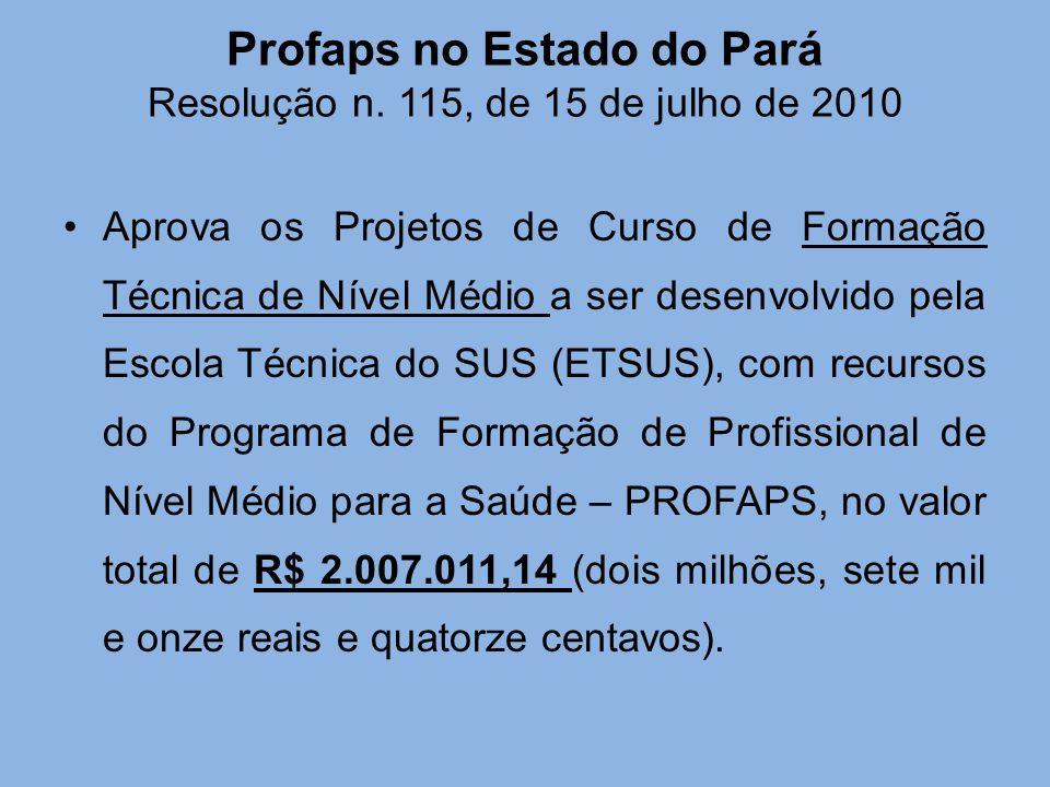 Profaps no Estado do Pará Resolução n. 115, de 15 de julho de 2010 Aprova os Projetos de Curso de Formação Técnica de Nível Médio a ser desenvolvido p